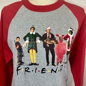 Friends Christmas Movies Themed Holiday Baseball T